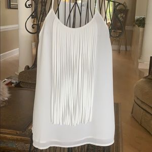 NWOT Boutique White fringed top (lined)